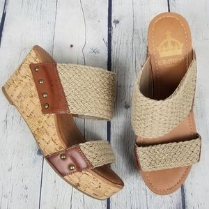 CROWN VINTAGE | woven strap open toe wedge slip-on